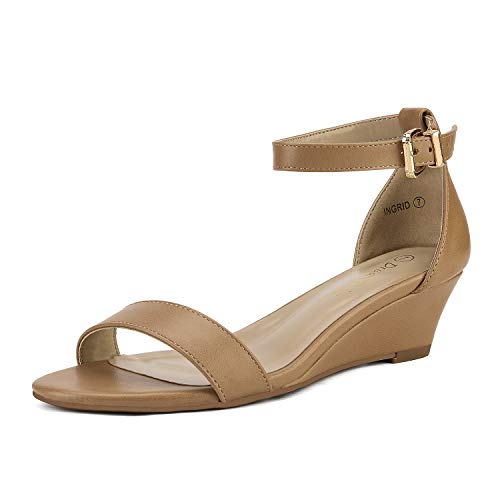 DREAM PAIRS Women's Ingrid Nude Pu Ankle Strap Low Wedge Sandals Size 7 M US