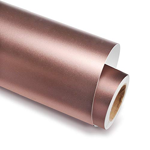 Holographic Chrome Satin Rose Gold Adhesive Craft Vinyl 12 Inch X 6 Feet for Cricut, Silhouette & Cameo,Silk Satin Rose Gold