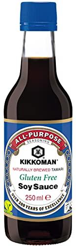 Kikkoman - Salsa De Soja Sin Gluten, Fermentación Natural, Halal Y Sin Gluten, color Salsa Soja, 250 ml