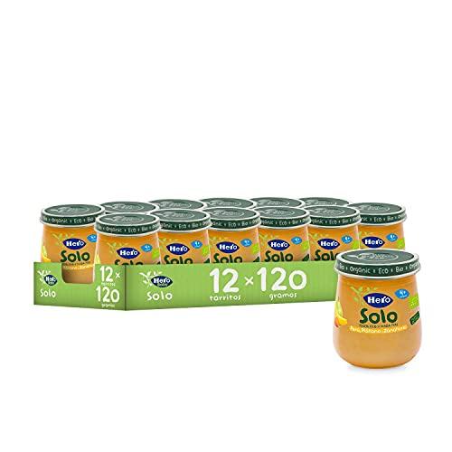Hero Solo - Tarrito Eco de Pera, Plátano y Zanahoria para Bebés a Partir de los 4 Meses - Pack de 12 x 120 g