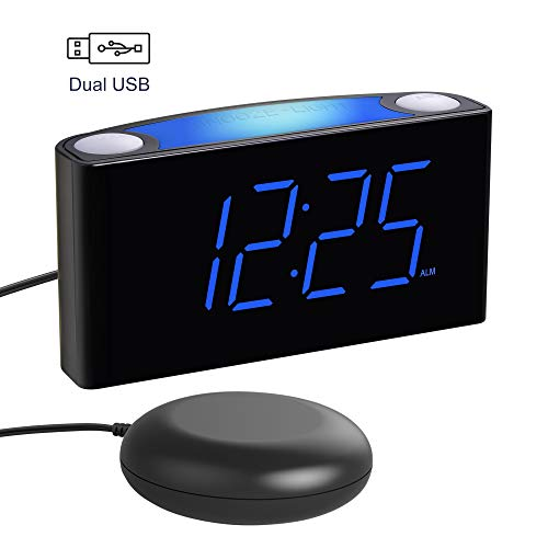 """Alarm Clock for Bedroom, LoudAlarm Clock for Heavy Sleeper with Bed Shaker, 7"""" Large Display,Full Range Dimmer, 7 Color Night Light, 2 USB Charger,12/24H DST, Battery Backup, Vibrating Alarm Clock"""