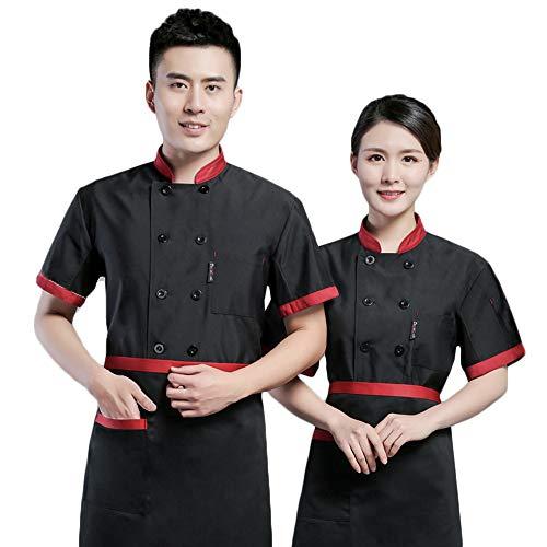 WYCDA kookjack met korte mouwen voor heren en dames, meerdere kleuren, wit, rood, zwart, groen, koffie, kostuum, antifouling, waterdicht