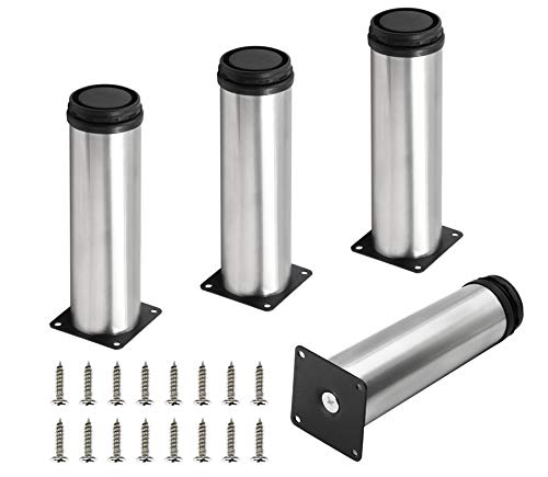 Seimneire 4pcs Adjustable Metal Furniture Legs, 2' x 7' / 50 x 178mm Stainless Steel Replacement Legs for Sofa Couch Cabinets Shelves DIY Furniture