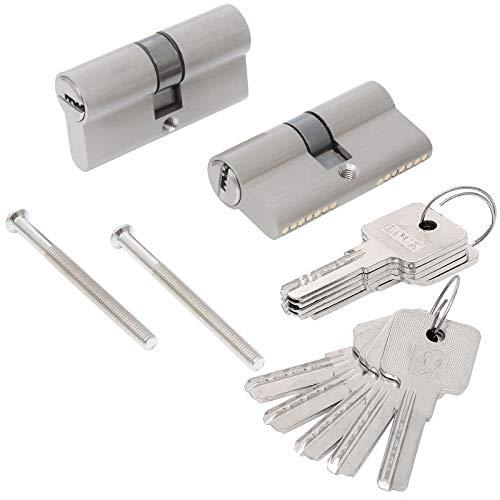 Set di 2 cilindro serratura nichelata 30/30 mm antirottura con 5 chiavi, cilindro doppio ingresso alta sicurezza