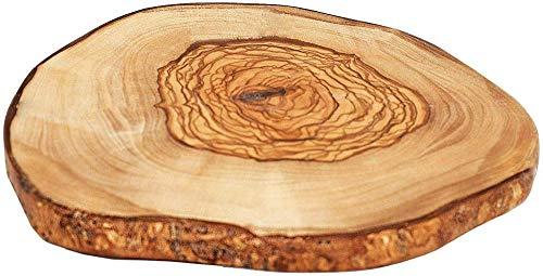 Panel de madera de olivo con corteza de árbol rústico - Platilloredondo Deco deØ 10-12 cm