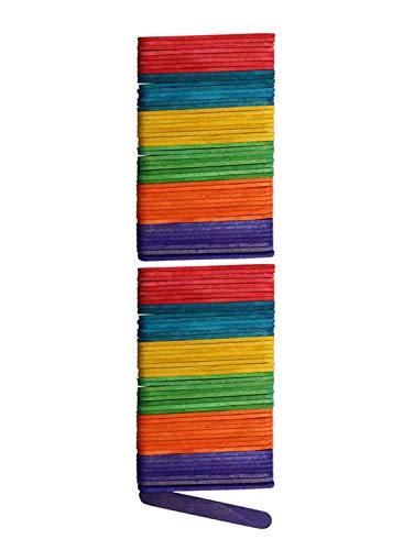 Glorex 6 2200 680 Bastelhölzer aus bunt lackiertem Birkenholz, in Form von Eisstäbchen, ca. 6,5 cm lang mit abgerundeten Enden, 100 Stück, vielseitig einsetzbar beim Basteln