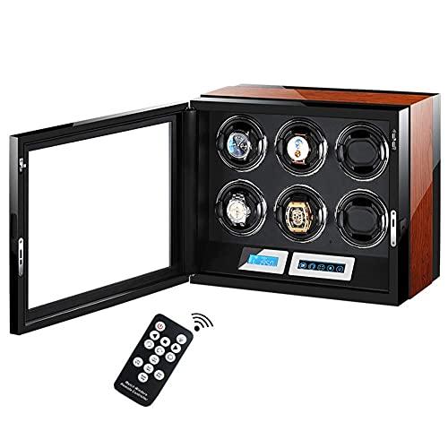 CCAN Watch Winder Wood per 6 Orologi Watch Box Automatico con Motore Silenzioso e LCD Touch Screen Piano Paint Happy Life