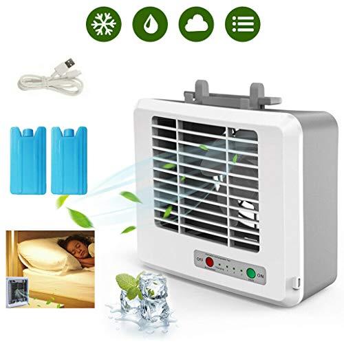 Tragbare Mini Klimaanlage Ventilator, FeiliandaJJ Luftkühler mit Wasserkühlung USB Leise 3 Speed Modi Luftkühlerlüfter Air Cooler Luftbefeuchter für Büro Camping Drinnen Küche,2pcs Kältemittel (Weiß)