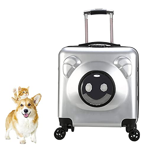 DUTUI Multifunctional Pet Trolley Case, Cat And Dog Outing Travel Bag, Portable Cat Suitcase, Suitable for Traveling with Pets,Gray