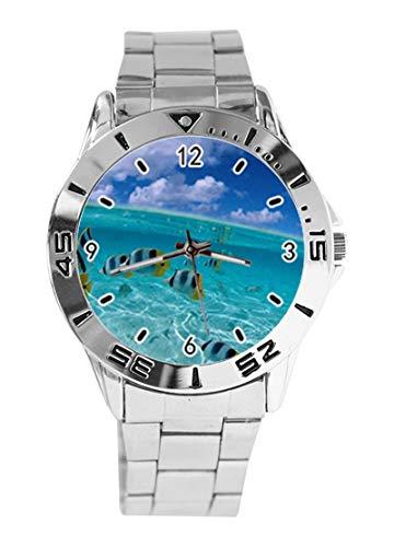 Tropical Fish Aquatic Marine Life Coral Reef Reloj de Pulsera analógico con diseño de Arrecife de Coral y Esfera Plateada de Cuarzo, Correa clásica de Acero Inoxidable para Hombre y Mujer