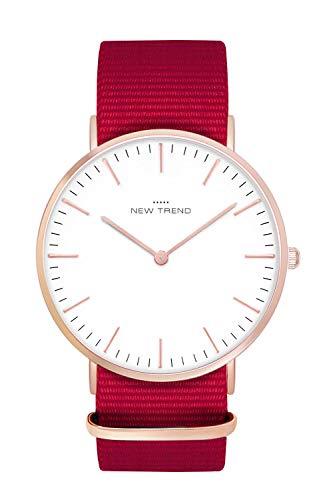 New Trend Unisex Armbanduhr Rot mit römischer Ziffer, Rosegold Damen-Uhr, Herren-Uhr, Nylon-Armband, Edelstahl-Metall-Armband, Textil-Armband, Stoff-Armband, NATO-Armband…