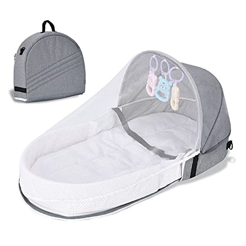 BEAUTYBIGBANG Portable Baby Bed Foldable Bassinet Newborn Baby Travel Cot Bassinets Nest Sleeping Pod Infant Lounger Sleeper Crib with Canopy,Mosquito Net Sleeping Basket with Toys