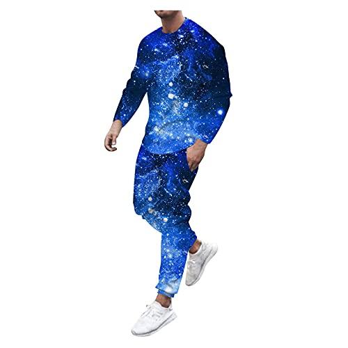 Yowablo T-Shirt Lange Hosen Sets Herren Herbst 2-teilig Bedruckte O-Ausschnitt Langarm Top Bluse ( XXL,12mehrfarbig )