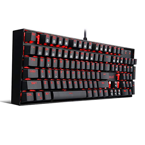 Redragon K551 Mechanical Gaming Keyboard with Cherry MX Blue Switches Vara 104 Keys Numpad Tactile USB Wired Computer Keyboard Steel Construction for Windows PC Games (Black RED LED Backlit)