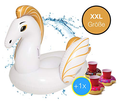 XXL Aufblasbar Schwan Pegasus gold Schwimmtier - coole, trendige Luftmatratze Schwimmbrett Schwimminsel für Pool, Wasser für Kinder und Erwachsene inkl. 1x Getränkehalter Cocktailhalter (Pegasus)
