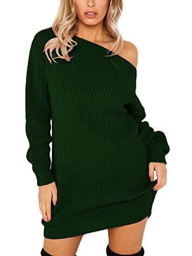 Minetom Damen Pullover Kleider Mode Minikleid Winterkleid Strickkleid Sexy Trägerlos Bodycon Langarm Stricksweat Strickpullover Gestrickt Sweatkleid...