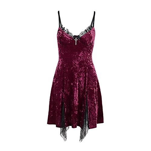 chushi Vestidos de Mujer Vestido Gótico Sexy Encaje Rojo Mini Vestido Dark...
