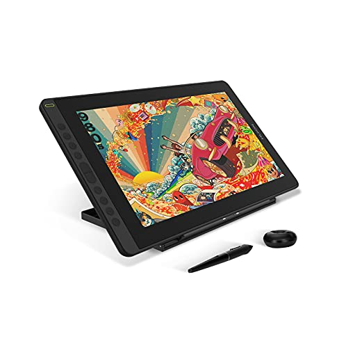 """2021 HUION KAMVAS 16 Graphics Drawing Tablet with Screen Full-Laminated Android Support Graphic Monitor w/ 8192 Level Pressure Battery-Free Stylus Tilt 10 Hot Keys Adjustable Stand, 15.6"""" Pen Display"""