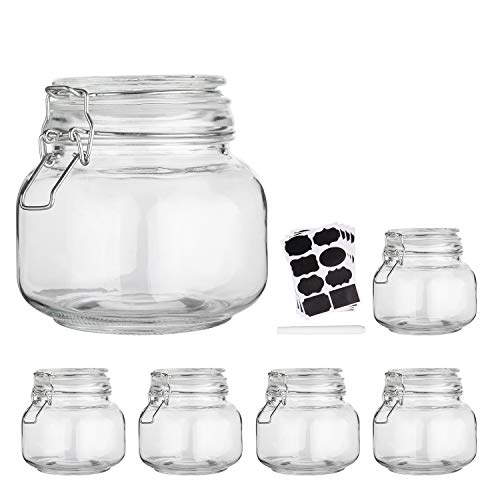 Glass Kitchen Storage Canister Mason Jars with Lids,25oz Airtight Glass Canister with Hinged Lid?Perfect for Kitchen Canning Cereal,Pasta,Sugar,Beans (Labels & Chalk Marker)-Set of 6