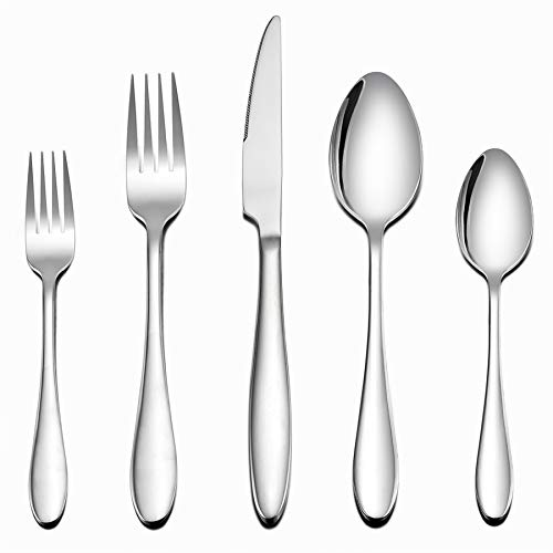 LIANYU Flatware Set, 40 Piece Silverware Set, Stainless Steel Home Kitchen Hotel Restaurant Tableware Cutlery Set, Service for 8, Mirror Finished, Dishwasher Safe