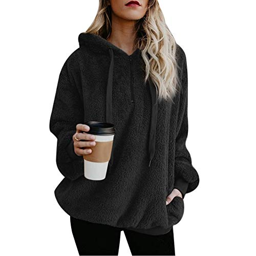 Vertvie Damen Hoodie Kapuzenpullover mit Kapuze und einfarbigen Pullovern Casual Winter Teddy-Fleece Langarm Oversize Sweatshirt Mantel Tops Mit Kapuze(A-Schwarz, 2XL)