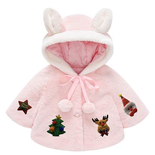 Toddler Girls Cute Flannel Rabbit Ears Hoodies Princess Cloak Jacket Winter Thick Warm Cape 1-5 T