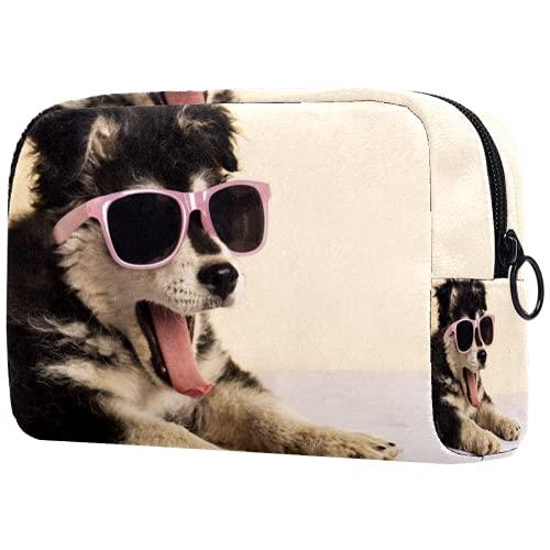 AITAI Bolsa de maquillaje grande bolsa de viaje organizador de cosméticos lindo cachorro con gafas de sol bostezando