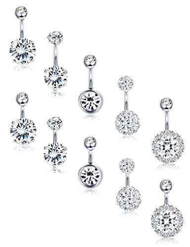 FIBO STEEL 10 Pcs Navel Button Rings for Women CZ Belly Earring Short Bar 8MM 10MM Silver-Tone