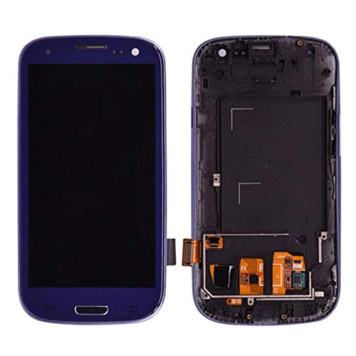 CjYeSS Pantallas LCD para teléfonos móviles Pantalla LCD Pantalla táctil Digitalizador + Botton de Inicio Montaje Completo Bisel Frame Puede Ajustar el Brillo/Ajuste para Samsung Galaxy S3 I9300