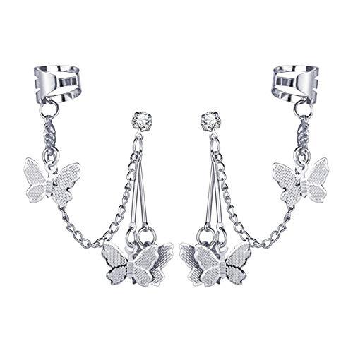 1 par de pendientes de metal de moda con clip de mariposa para mujer, regalo de oreja atrapados en los puños (piedra principal: transparente, color metálico: chapado en plata)