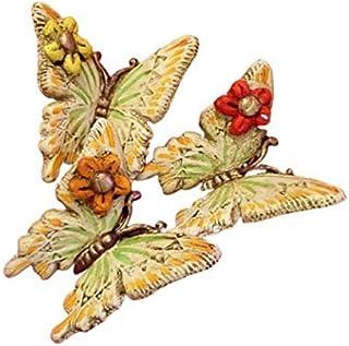 Le Ceramiche Del Re, Farfalle Decorative in Ceramica da Appendere, Set da Tre Farfalle, Decorata a Mano