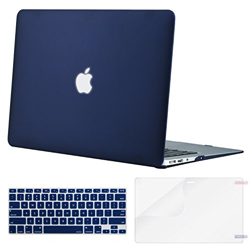 MOSISO Plastic Hard Shell Case & Keyboard Cover & Screen Protector Only Compatible with MacBook Air 13 inch (Models: A1369 & A1466, Older Version 2010-2017 Release), Navy Blue