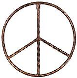 "Metal Peace Sign Wall Decor Art - 12"" Rustic Hippie Plaque"