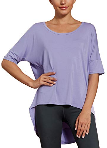 icyzone Yoga Tops for Women - Open Back Workout Top Moisture Wicking Running Shirts Casual Loose Blouses Long Back T-Shirts (XL, Lilac)