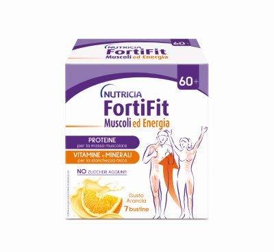 Fortifit Muscoli e Energia, Integratore Alimentare a base di Sieroproteine con Vitamine e Minerali - 1 Confezione da 7 bustine (Totale= 142,1 gr) (1)
