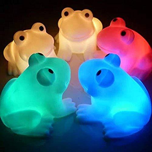 XKMY Luz LED de noche colorida LED linda rana noche luz niños niños lámpara de mesa ecológica decoración del hogar dibujos animados LED luces de noche (color emisor: DJ0109)
