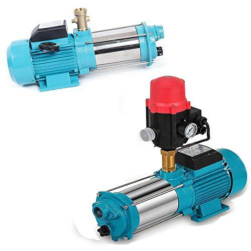 Wangkangyi 1300W INOX Kreiselpumpe Hauswasserwerk Gartenpumpe Bewässern Pumpen Kreiselpumpe Druckschalter mit Manometer - Leistung Laufräder aus Edelstahl mit Schaltautomatik