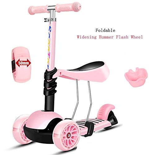Coverp Kinderroller Klappbar Roller Scooter ab 3-12 Jahre Kinderscooter mit LED Räder Tretroller Belastbarkeit bis 180 kg,pink