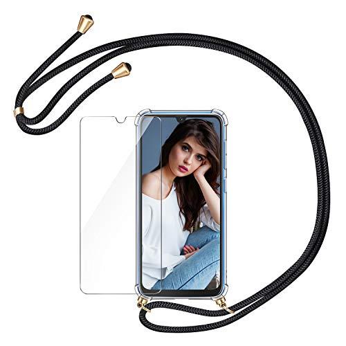 AROYI Handykette Handyhülle & Panzerglas Schutzfolie kompatibel mit Samsung Galaxy A50 Hülle mit Kordel zum Umhängen Necklace Hülle mit Band Transparent Hülle Schwarz Gold