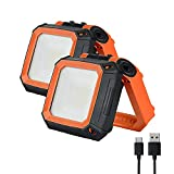 Tekstap Portable LED Work Light, Rechargeable Magnetic Light, Ultra Bright with Stand, Waterproof Flood Light for Outdoor, Camping Emergency Security Job Site Lighting, 30W 2000LM (YELLOW/2PACK)