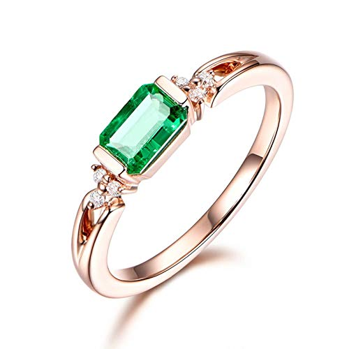 Cenliva Ladies Wedding Rings, Cute Rings for Women18K Gold 0.59 Carat Cushion Cut Emerald Ring Size O 1/2