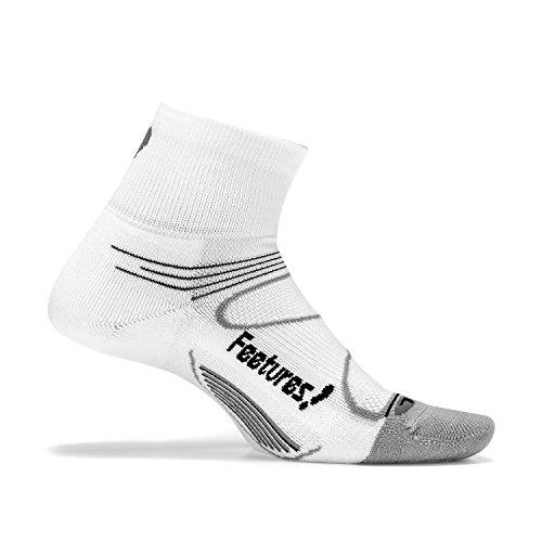 Feetures Mens Elite Light Cushion Quarter Socks Boots Stockings White Black S 34 37