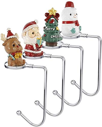 ODOMY 4 Pack Christmas Stocking Holders for Mantle, Hooks Hanger for Fireplace Christmas Xmas Party Decoration with Non-Slip Design Santa Claus Snowman