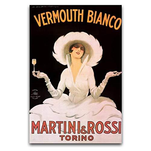 Marcello Dudovich Vermouth Bianco Martini und Rossi Poster, dekoratives Gemälde, Leinwand, Wandkunst, Wohnzimmer, Poster, Schlafzimmer, Gemälde, 30 x 45 cm