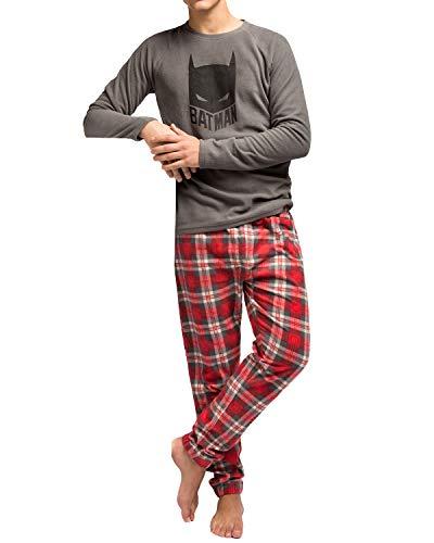 Pijama Hombre Micropolar Batman (XL, Gris