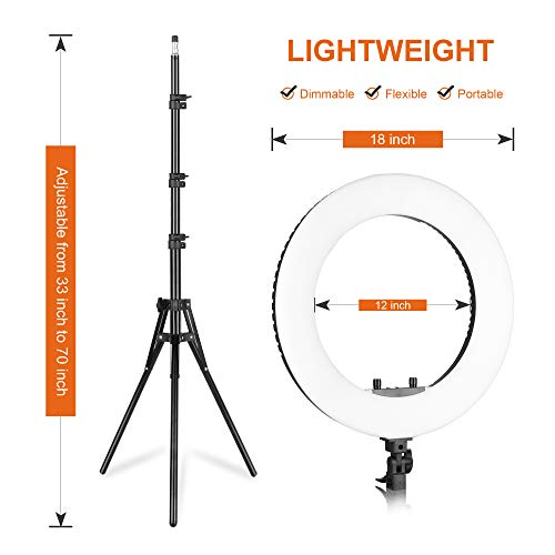 Emart 18 inch LED Ring Light with Tripod Stand, 65W Adjustable Color Temperature 3200 k to 5500 k Makeup Ringlights with Phone Holder, Carrying Bag, Soft Tube, Bluetooth for Camera, YouTube