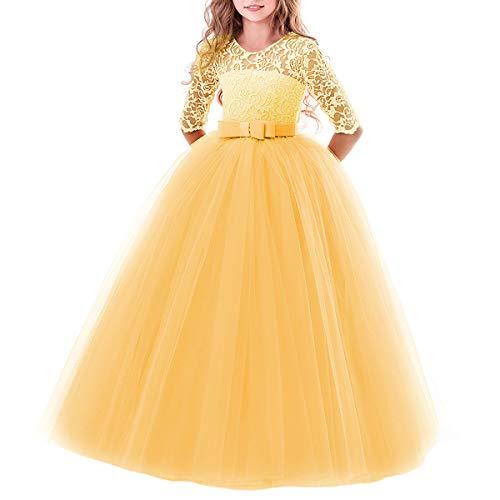 IBTOM CASTLE Elegant Brautjungfer Kleider für Mädchen Blumenmädchen Hochzeitskleid 3/4 Arm Spitzenkleid Tüllkleid Prinzessin Festzug Weihnachten Karneval Abendkleid Partykleid Gelb 9-10 Jahre