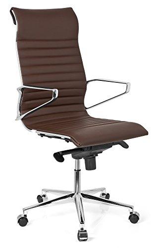 hjh OFFICE 720023 Profi Chefsessel PARIBA I Leder Braun Design-Stuhl Bürostuhl ergonomisch geformt, hohe Rückenlehne