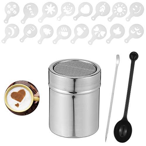 Xinzistar Kakaostreuer für Cappuccino mit Schablone Barista Latte Art Pen Edelstahl Puderzuckerstreuer Staubzuckerstreuer Pulverstreuer Schokoladenstreuer Kaffeezubehör