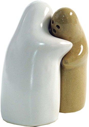 Guru-Shop Keramische Peper en Zoutvaatje `Liefhebbers`- Mosterd/wit, Keramiek, 9x7x5 cm, Keukenaccessoires en Diversen